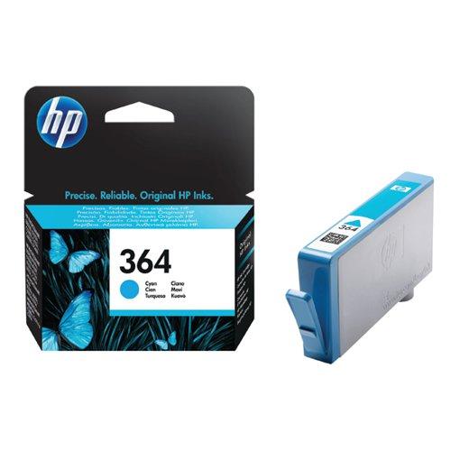 HP 364 Cyan Inkjet Cartridge (Standard Yield 300 Page Capacity) CB318EE