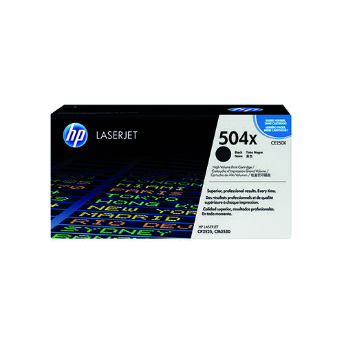 HP 504X Black High Yield Laserjet Toner Cartridge CE250X