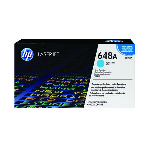 HP 648A Cyan Laserjet Toner Cartridge CE261A