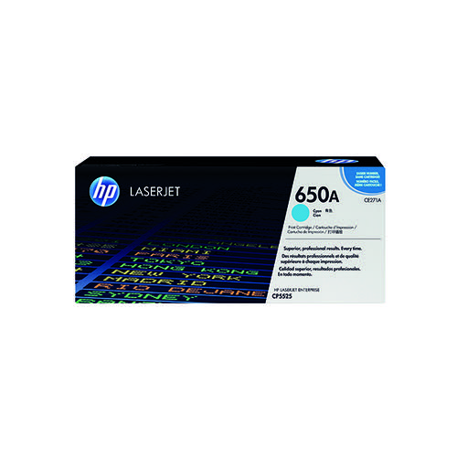 HP 650A Cyan Laserjet Toner Cartridge CE271A