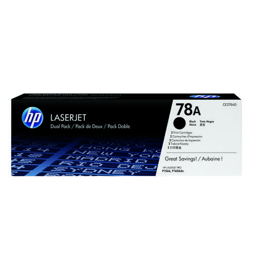 HP 78A Black Laserjet Toner Cartridge (Pack of 2) CE278AD