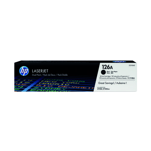 HP 126A Black Laserjet Toner Cartridge (Pack of 2) CE310AD