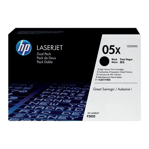 HP 05X Black Laserjet Toner Cartridge (Pack of 2) CE505XD