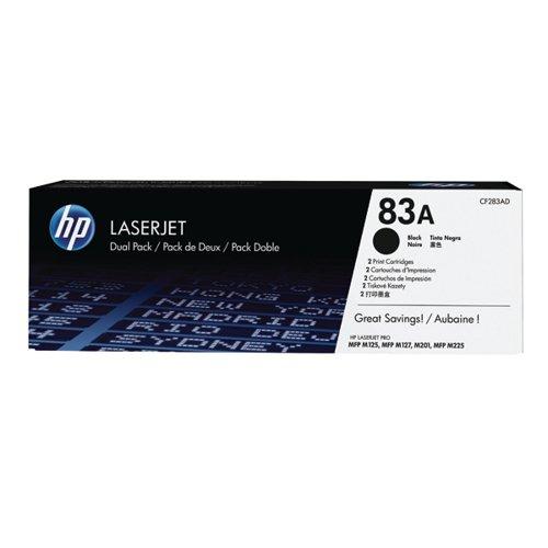 HP 83A Black Laserjet Toner Cartridge (Pack of 2) CF283AD