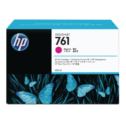 HP 761 Magenta Designjet Inkjet Cartridge (Capacity: 400ml) CM993A