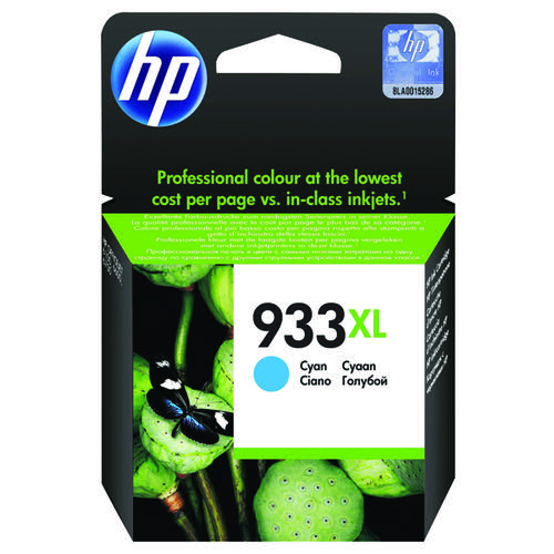 HP 933XL Cyan Officejet Inkjet Cartridge (Capacity: 825 pages) CN054AE