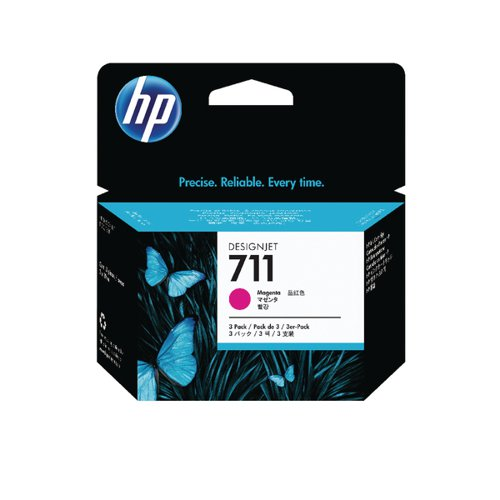 HP 711 Magenta Inkjet Cartridge (Pack of 3) CZ135A