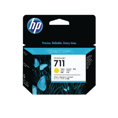 HP 711 Yellow Inkjet Cartridge (Pack of 3) CZ136A