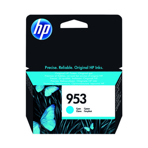 HP 953 Ink Cyan Cartridge (Standard Yield 10ml 700 Page Capacity) F6U12AE