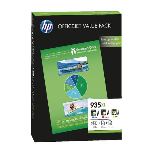 HP 935XL Cyan/Magenta/Yellow Ink Cartridge and Paper (Pack of 75) F6U78AE