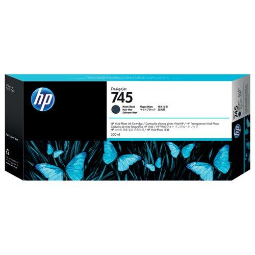 HP 745 DesignJet Matte Black Ink Cartridge (Capacity: 300ml) F9K05A