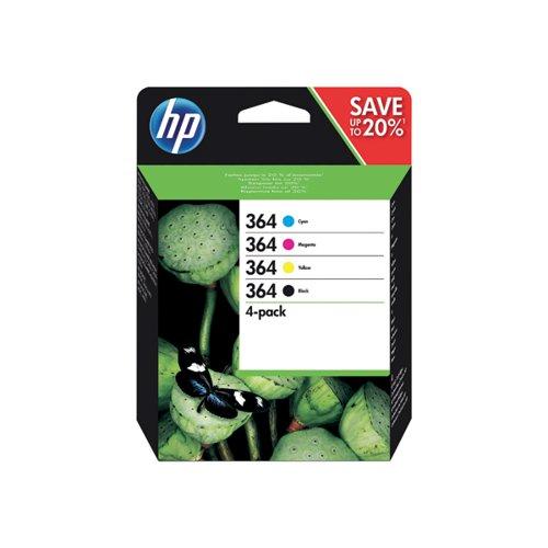 HP 364 Cyan/Magenta/Yellow/Black Ink Cartridges (Pack of 4) N9J73AE