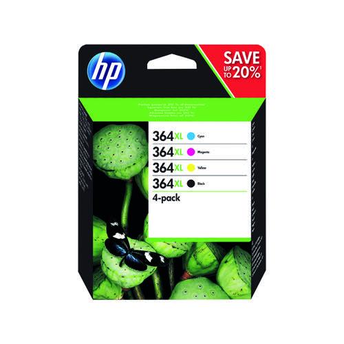 HP 364XL Cyan/Magenta/Yellow/Black Ink Cartridges High Yield (Pack of 4) N9J73AE