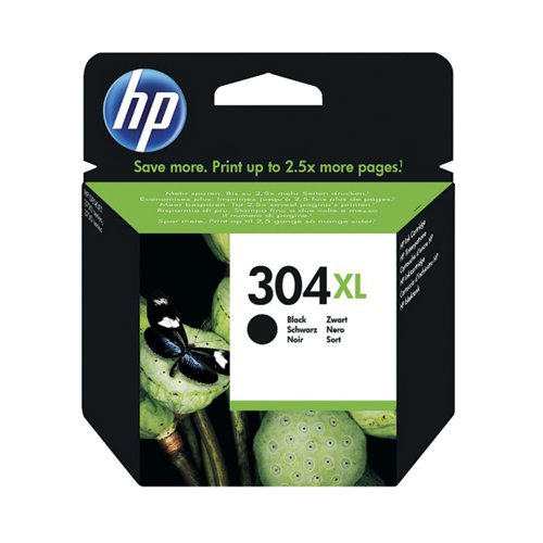 HP 304XL Black Ink Cartridge (High Yield 300 Page Capacity) N9K08AE