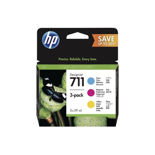 HP 711 Cyan Magenta Yellow DesignJet Ink Cartridge 80ml (Pack of 3) P2V32A