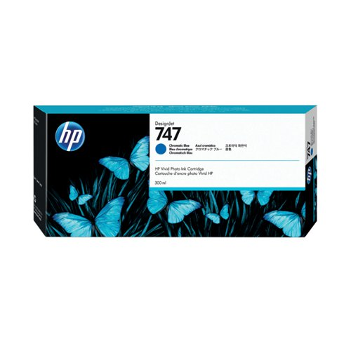 HP 747 300ml Chromatic Blue Ink Cartridge (For use with DesignJet Z9+ Series) P2V85A