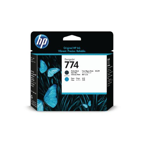 HP 774 Matte Black and Cyan Printhead P2W01A