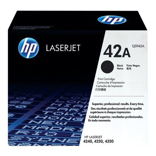 HP 42A Black Laserjet Toner Cartridge Q5942A