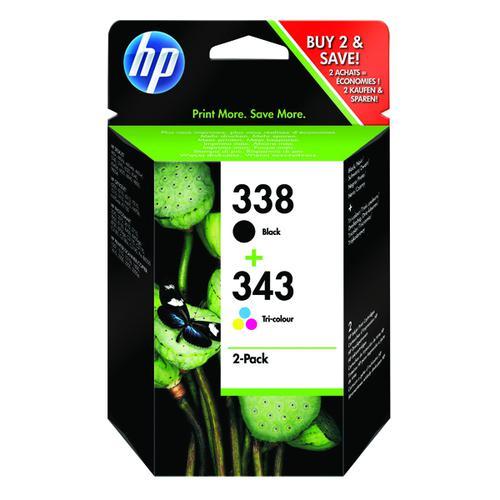 HP 338/343 Black /Cyan/Magenta/Yellow Ink Cartridges (Pack of 2) SD449EE