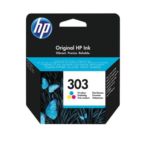 HP Original 303 Tri Colour Ink Cartridge (Capacity: 200 pages) T6N01AE