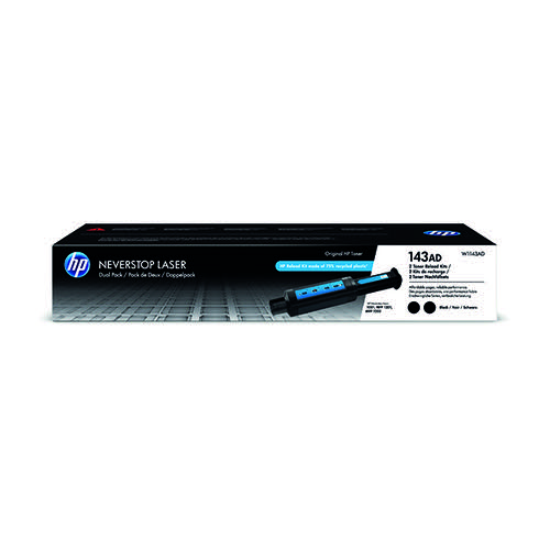HP 143AD Original Neverstop Laser Toner Reload Kit Dual Pk Blk W1143AD