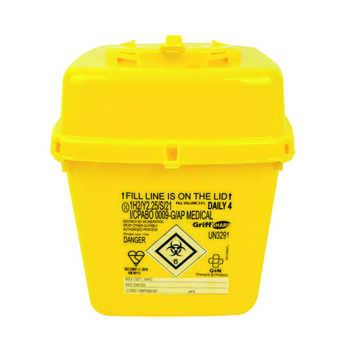 Reliance Medical Sharps Container High Visibility Yellow 4 Litre 4602