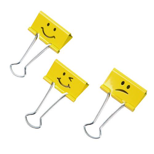 Rapesco Emoji Foldback Clip 32mm Yellow (Pack of 20) 1354