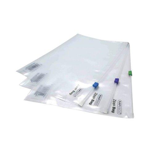 Rapesco Zippi Bags Plastic Zip A4 Plus Clear (Pack of 25) 0796