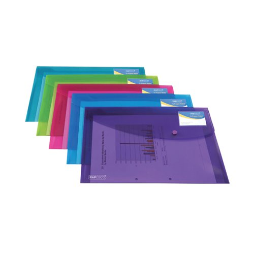 Rapesco ID Popper Wallet Translucent Assorted (Pack of 5) 0700
