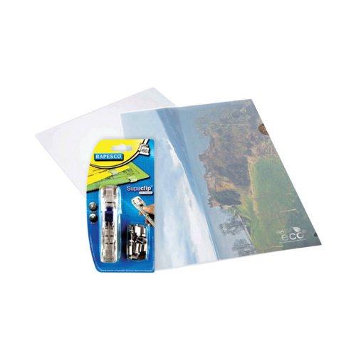Rapesco Eco Cut Flush Folders A4 Clear FOC Supaclips (Pack of 100) HT810941