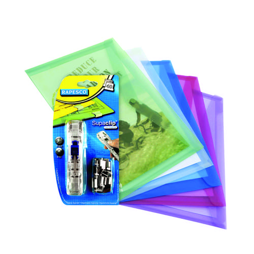 Rapesco Eco Popper Wallet A4 Assorted FOC Supaclips (Pack of 5) HT810942