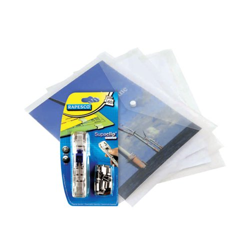 Rapesco Eco Popper Wallet A4 Clear FOC Supaclips (Pack of 5) HT810943