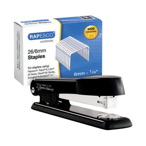 Rapesco Marlin Metal Stapler Black FOC 26/6mm Staples HT810945
