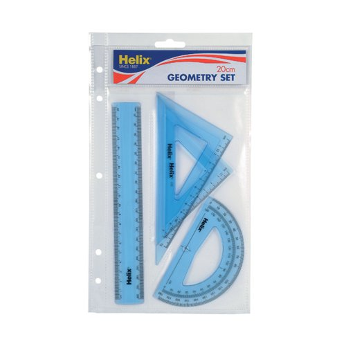 Helix Geometry 4 Tool Set (Includes scale ruler 2 x set squares and protractor) Q88100
