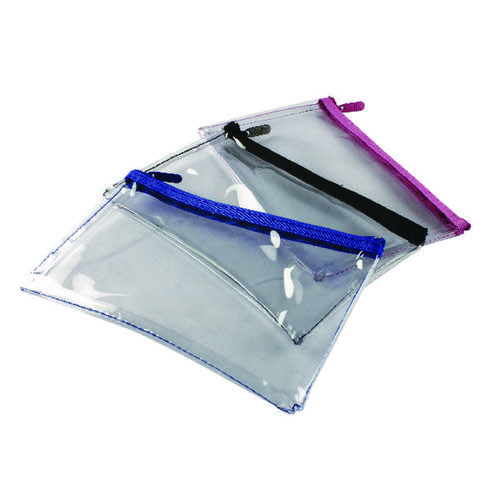 Helix Clear Pencil Case 200x125mm Assorted (Pack of 12) M77040