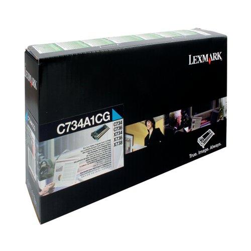 Lexmark Cyan Return Program Toner Cartridge C734A1CG