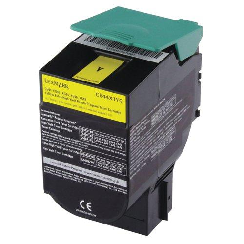 Lexmark C544 Yellow Extra High Yield Return Program Toner 0C544X1CG