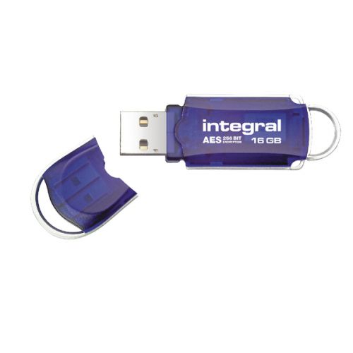 Integral Courier FIPS 197 Encrypted USB 16Gb Flash Drive Blue INFD16GBCOUAT