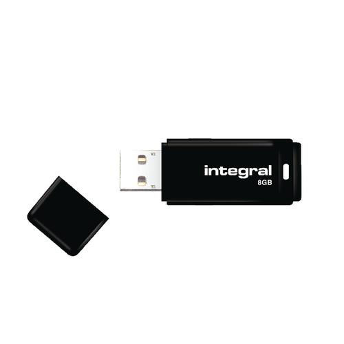 Integral Black USB 2.0 8Gb Flash Drive (Compatible with PC's and Macs) INFD8GBBLK