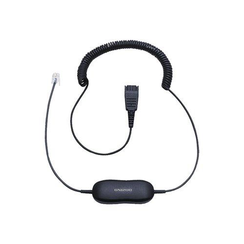 Jabra Black GN1200 CC QD to RJ9 Universal Headset Coiled Cord 88011-99