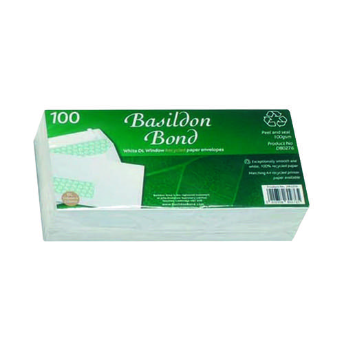 Basildon Bond DL Wallet Envelope Window White (Pack of 100) D80276