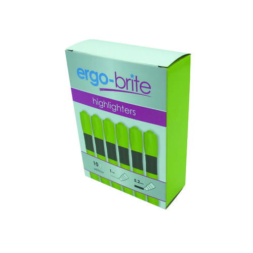 Ergo-Brite Ergonomic Highlighter Pen Yellow (Pack of 10) JN69979