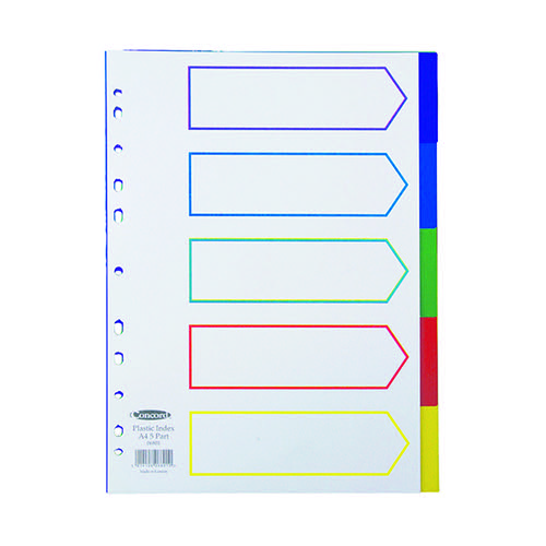 Concord Divider 5-Part A4 Polypropylene Multicoloured 06801