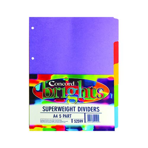 Concord Divider 5-Part A4 Heavyweight 270gsm Bright Assorted 52599/525