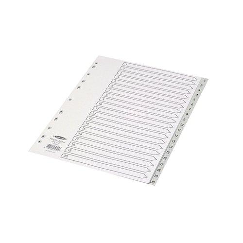 Concord Index 1-20 A4 Polypropylene Grey 62705 - JT62705