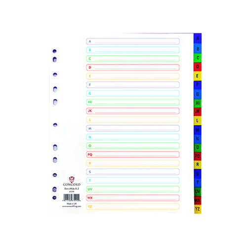 Concord Index A-Z A4 Extra Wide Polypropylene Multicoloured 67099