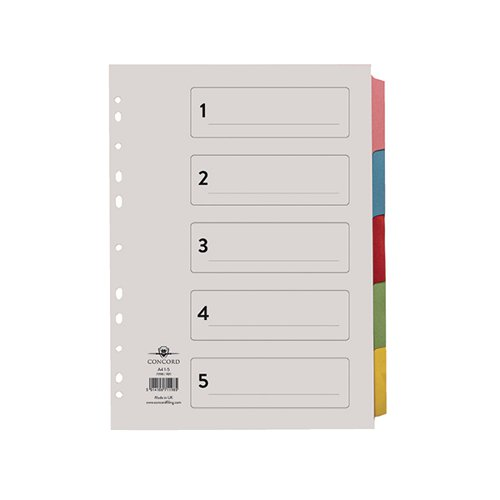 Concord Divider 5-Part A4 Multicoloured Tabs with Contents 71198/PJ11