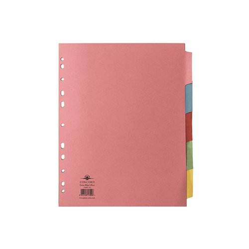 Concord Divider 5-Part A4 Extra Wide Pastel Colours 71399/J13