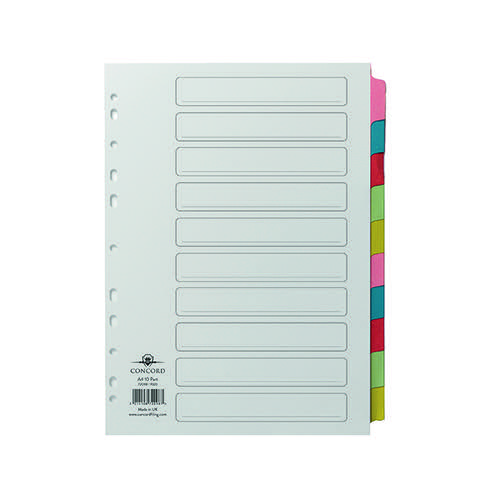 Concord Divider 10-Part A4 Multicoloured Tabs with Contents 72098/PJ20