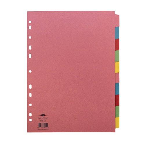 Concord Divider 10-Part A4 160gsm Multicoloured 72099/J20